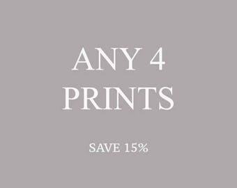 SALE Set of 4 photographs, Gallery Wall, Photography Set, Discounted Set, Any Four Photographs, Save Money Set Of 4 Prints