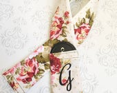 Embroidered Reversible Camera Strap Cover with Lens Cap Pocket and Monogram, DSLR Camera Strap, Photographer Gift - Vintage Floral and Gold