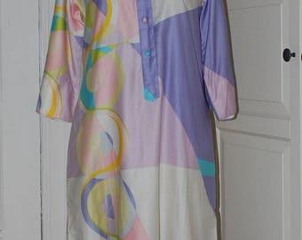 ON SALE 60s Dress, Ogust, Mod Shift, Penthouse Gallery, Polished Cotton, Print, S