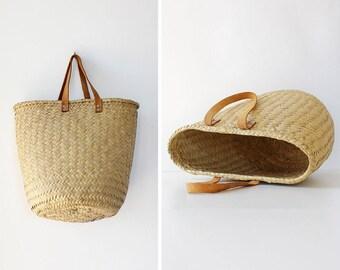 Vintage Basket Bag • 90s Bag • Summer Straw Bag • Large Market Bag • Summer Straw Purse • Straw Market Bag • Large Straw Bag | B973