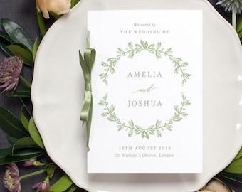 Rustic Botanical Wedding Program / 'Vintage Wreath' Pocket-sized Order of Service Mass Booklet / Sage Green or Custom Colours / ONE SAMPLE