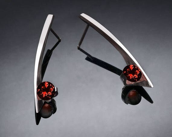 garnet earrings, January birthstone, Mozambique garnet, red earrings, Argentium silver, designer jewelry, modern earrings - 2458