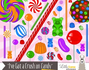 "Candy Clipart, Sweets Clip Art, ""Crush on Candy"", Commercial Use, Instant Download, Lollipop, Gummy Bears, Licorice, Jelly Bean"