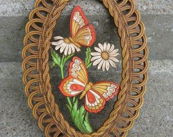1970s butterfly wall decor dart wall plque coppercraft earthtones faux rattan