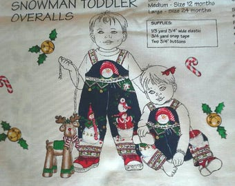 Daisy Kingdom Fabric Panel Toddlers Christmas Overalls X0983 6, 12 and 24 mos.
