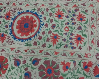 Uzbek hand embroidered suzani Pomegranates and Medallions. Wall hanging, bed cover, table cover suzani