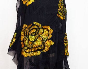 Gold Black Shawl Black Golden Scarf Flower Pattern Felted Wool Shawl Nuno Felt Shawl