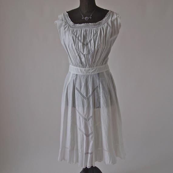 Edwardian Dress White Cotton Art Nouveau Wedding Eyelet Lace
