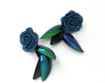 OOAK real elytra jewel beetle wing cases dangle earrings
