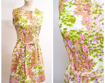 1960s St Michael abstract print green & pink cotton shirt dress / 60s pastel printed shift dress - S