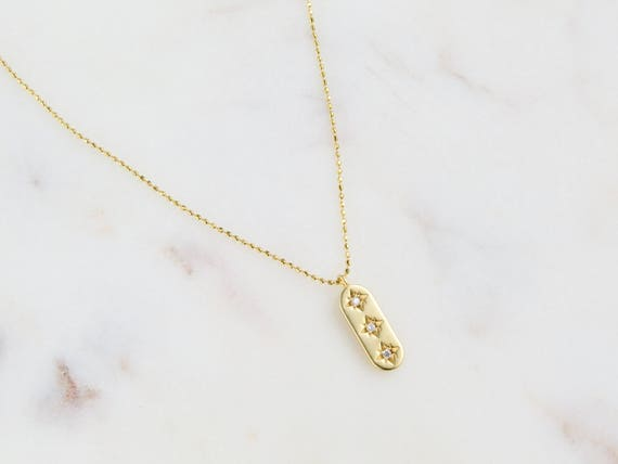Long Coin Necklace | 3 Star Necklace | Gold Bar Necklace | Gold Star Necklace | Dainty Jewelry | Jewelry Gift Bff | Gift For Her | Bff Gift