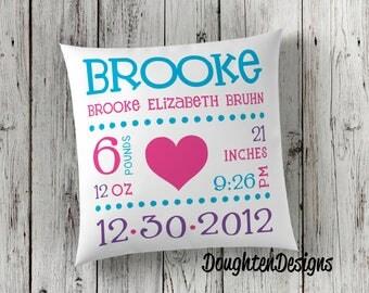 Birth stat pillow, Birth announcement pillow, personalized pillow, nursery pillow, throw pillow, newborn baby pillow decor, birth keepsake