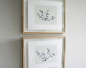 Pair of pictures. Two original screenprints, ink drawings, plant stems. Simple, modern handmade art in black and white