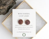 Round Wine Barrel and Silver Cuff links - made from retired Napa wine barrels!