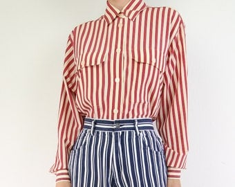 VINTAGE Striped Blouse Red Collar Shirt