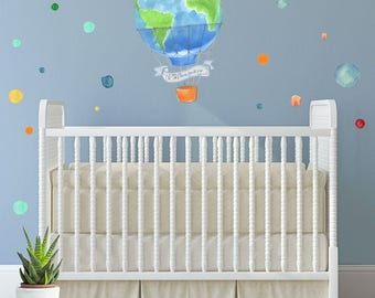 Oh the places you'll go art, Baby Nursery Wall Decals, Polka dots, Vinyl decals baby, Hot Air Balloon, Modern Nursery Decal, Baby room art