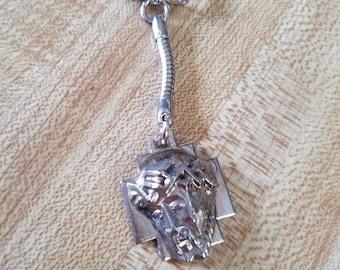 Vintage Jesus Christ Crown of Thorns Cross Key Chain Keychain Christianity Christian 1970s