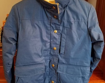Vintage L.L. Bean Freeport Maine Winter Coat 1970s 1980s Winter Outerwear Blue Zipper Snaps Blue Corduroy Collar Made in the USA Size Small