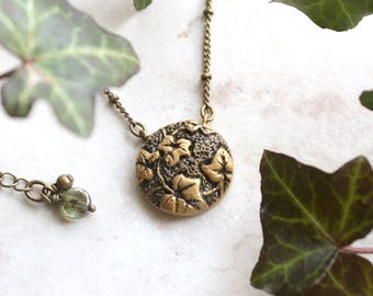 Ivy leaf necklace etsy ivy necklace gold ivy leaf charm silver ivy jewelry ivy vine necklace mozeypictures Image collections