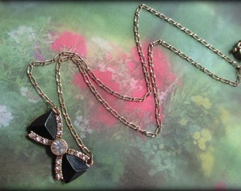 Vintage Bowtie Necklace  J Crew Unique and Whimsical CZ and Black With Chain