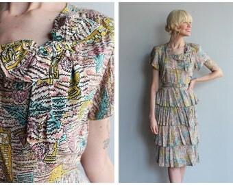 1940s Dress // Aztec Novelty Print Rayon Ruffle Dress // vintage 40s dress