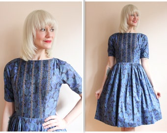 1950s Dress // L'Aiglon Floral Day Dress // vintage 50s dress