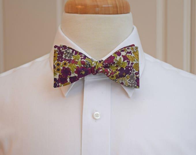 Men's Bow Tie, Liberty of London, burgundy/olive multi floral Margaret Annie design, groomsmen/groom bow tie, wedding bow tie, tux accessory