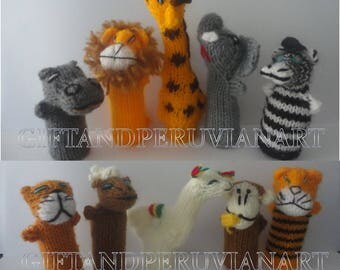10 Peruvian Finger Puppet Wool - Will Animals Finger Puppets - Collectable Handmade New Peru