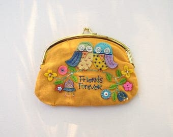 Yellow coin purse owls Friends Forever vintage embroidered change purse money purse mini clutch metal frame purse jewelry purse gift for her