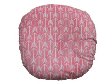 Boppy Lounger cover-Ships Today- Coral Minky  arrows with coral bottom, slipcover for boppy lounger