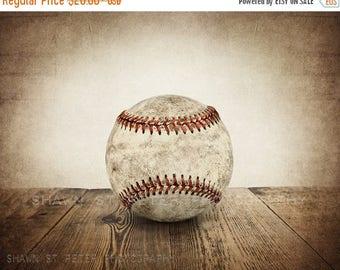 FLASH SALE til MIDNIGHT Vintage Single Baseball on Wood Photo print ,Decorating Ideas, Wall Decor, Wall Art,  Kids Room, Nursery Ideas, Gift