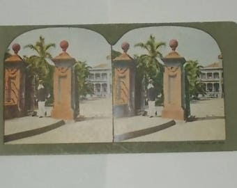 Antique- about 1900 Stereoview Card-Governor S.B. Dole-Palace Grounds-Honolulu-FREE SHIPPPING!