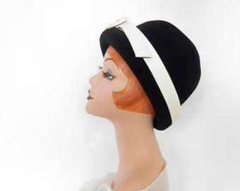Vintage 1960s hat, black cloche, white pleather, Italy