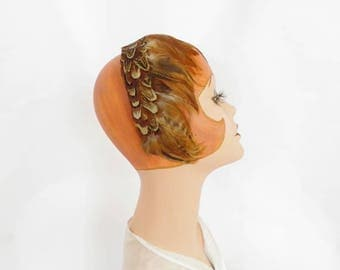 Vintage feather hat, 1950s 1960s feather clip, brown headband