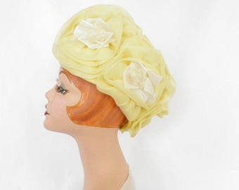 Yellow 1960s hat, woman's vintage toque with cabbage roses