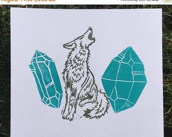 SUMMER SALE: Crystal Coyote  - Lino Block Print / Gem Art / Illustration #4