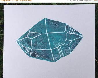 ON SALE: Crystal Love  - Purple & Teal / Quartz Lino Block Print / Gem Art #2