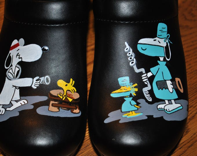New Design Custom Brain Surgeon shoes... very funny, hand painted nursing shoes, hand painted doc shoes  - sold