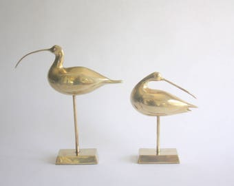 Pair of Large Vintage Brass Birds
