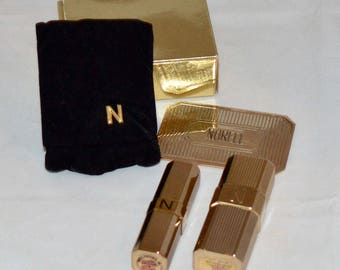 Vintage Norell Lipstick, Mirror, & Perfume Bottle In Velvet Case, 1970's, Great Condition