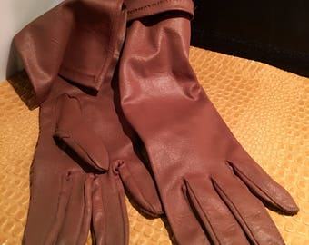 60's Brown Long Strecth Gloves