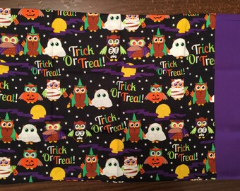 Halloween travel pillow case/toddler pillow case Trick or Treat Bag 100% cotton Cute Halloween Owls
