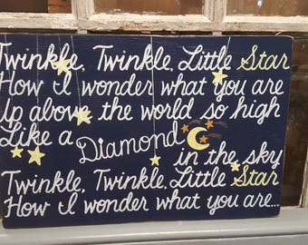 Twinkle Twinkle Little Star SIGN Reclaimed Wood Black yellow nursery custom colors 12x18 Whagn