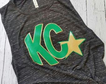 Kearney Catholic tank top, Kearney Nebraska, Catholic stars, game day shirt, high school, top green, gold, spirit gear, game day, tshirt