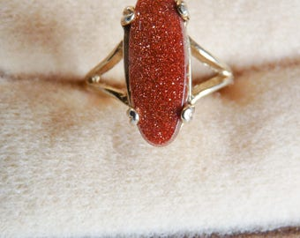 Vintage Goldstone Gold Plated Ring Mod Jewelry