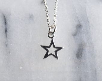 Star Necklace Sterling Silver Open Star Necklace Small Charm Pendant UK Gifts Necklaces for Women