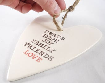 CUSTOM HEART ORNAMENT - ceramic valentine ornament stamped with personalized text - valentine gift from family -wedding decoration gift idea