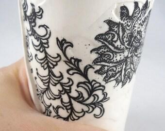 black and white flower ceramic coffee mug ceramic tea cup earthenware tumbler drinking glass cobalt blue mug handmade tea cup clay tea cup