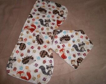 Bandana Bib and Burping Cloth Set