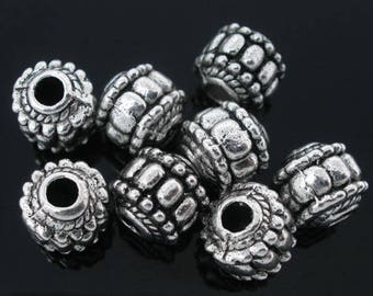 10 pcs. Antique Silver Metal Round Pot Carved Spacer Beads- 7mm - Hole Size: 2.6mm